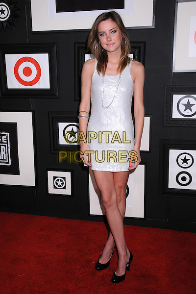 JESSICA STROUP.Target & Converse One Star Movie Awards After Party at The Lot,Hollywood, California, USA..June 1st, 2008.full length white dress silver black shoes necklace sleeveless  .CAP/ADM/BP.©Byron Purvis/AdMedia/Capital Pictures.