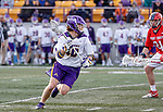 UAlbany Men's Lacrosse defeats Stony Brook on March 31 at Casey Stadium.  Kyle McClancy (#40).