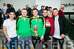l-r  Danny O'Shea, Mark O'Sullivan, Peter Murphy, Chris O'Sullivan  and Craig Locke celebrate Mitchels Avenue FC winning the Division 2A League Cup at the   Friends of University Hospital Kerry fundraising Night at the Dogs at the Kingdom Greyhound Stadium on Friday