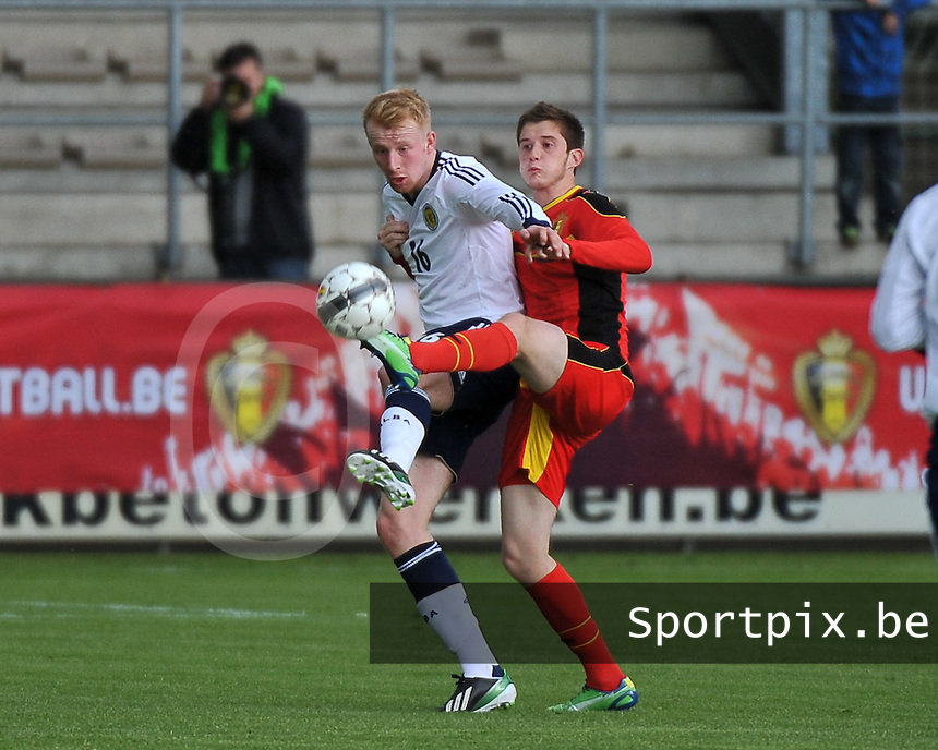 Scotland U19 - Belgium U19 : duel between Mark Beck (16) and Corentin Fiore (right).foto DAVID CATRY / Nikonpro.be