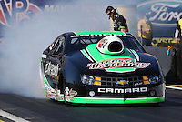 Feb. 22, 2013; Chandler, AZ, USA; NHRA pro stock driver Mike Edwards during qualifying for the Arizona Nationals at Firebird International Raceway. Mandatory Credit: Mark J. Rebilas-