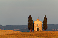 Hill top Chapel of Vitaleta, Val d'Orcia at sunset, Tuscany, Italy