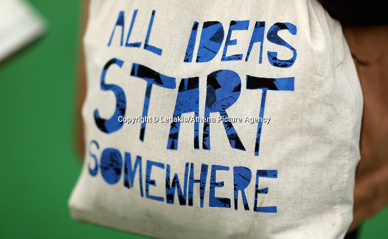 """Wednesday 28 May 2014, Hay on Wye, UK<br /> Pictured: """"All Ideas Start Somewhere"""" festival bag.<br /> Re: The Hay Festival, Hay on Wye, Powys, Wales UK."""