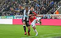 DeAndre Yedlin of Newcastle United & Juan Mata of Man Utd during the Premier League match between Newcastle United and Manchester United at St. James's Park, Newcastle, England on 6 October 2019. Photo by J GILL / PRiME Media Images.