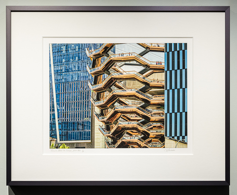 """Framed Size 16""""h x 20""""w, $375<br /> Natural Steel Nielsen 117 metal frame with 8-ply mat"""