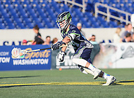 Annapolis, MD - July 7, 2018: Chesapeake Bayhawks Stephen Kelly (24) runs with the ball during the game between New York Lizards and Chesapeake Bayhawks at Navy-Marine Corps Memorial Stadium in Annapolis, MD.   (Photo by Elliott Brown/Media Images International)
