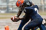 ANSONIA, CT. 02 December 2018-120218 - Ansonia's Shykeem Harmon #3 tries to prevent Bloomfield's Anthony Simpson #3 from crossing the goal line during the Class S Semi-final game between Bloomfield and Ansonia at Ansonia High School in Ansonia on Sunday. Bloomfield held on to beat Ansonia 26-19 and advances to the Class S Championship game next week. Bill Shettle Republican-American