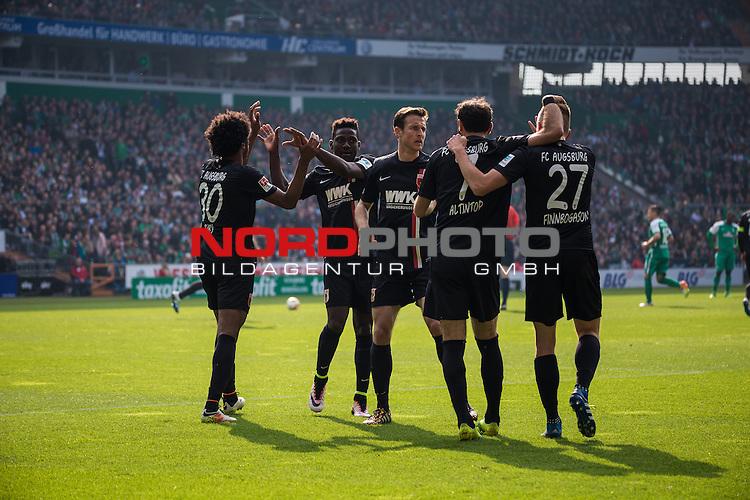 09.04.2016, Weser Stadion, Bremen, GER, 1.FBL, SV Werder Bremen vs FC Augsburg, im Bild Alfred Finnbogasin (FC. Augsburg #27) Francisco da Silva Caiuby (FC. Augsburg #30) Halil Altintop (FC. Augsburg #7) Freude, Jubel nach Ausgleichtreffer 1:1<br /> <br /> <br /> <br /> Foto &copy; nordphoto / Woratschka