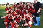 The Canterbury team celebrates winning the National Women's Association Under-18 Hockey Tournament final between Canterbury and Waikato at Twin Turfs in Clareville, New Zealand on Saturday, 15 July 2017. Photo: Dave Lintott / lintottphoto.co.nz