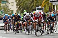 Final sprint with KRISTOFF Alexander (NOR - Team Katusha), CAVENDISH Mark (GBR - Omega Pharma - Quick-Step cycling team), CANCELLARA Fabian (SUI - TREK FACTORY RACING) and SWIFT Ben (GBR - Team SKY)  <br /> 23-03-2014 <br /> Ciclismo<br /> Milano - Sanremo 2014 <br /> Foto Insidefoto