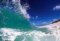 wave splashing at ke'iki beach, Oahu.