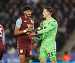 Orjan Nyland of Aston Villa has words with his defence during the Carabao Cup match at the King Power Stadium, Leicester. Picture date: 8th January 2020. Picture credit should read: Darren Staples/Sportimage