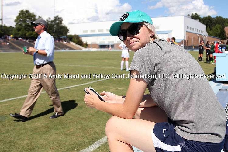 21 August 2016: UNC Marketing and Social Media Coordinator Brittani Bartok. The University of North Carolina Tar Heels hosted the University of North Carolina Charlotte 49ers in a 2016 NCAA Division I Women's Soccer match. UNC won the game 3-0