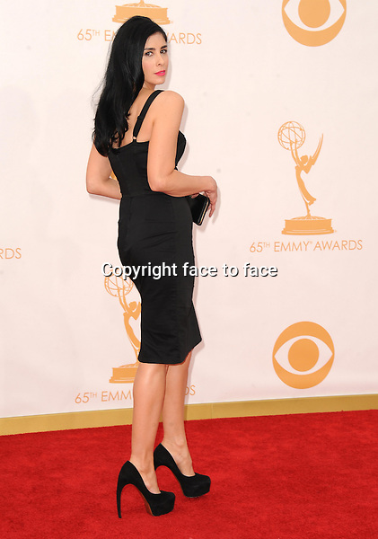Sarah Silverman arrives at the 65th Primetime Emmy Awards at Nokia Theatre on Sunday Sept. 22, 2013, in Los Angeles.<br />
