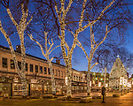 Christmas lights at Quincy Market, Faneuil Hall Marketplace, Boston, Massachusetts, USA