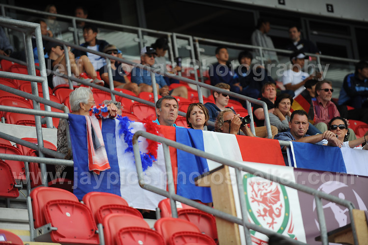 French supporters at the UEFA Womens U19 Semi-Final at Parc y Scarlets Wednesday 28th August 2013. All images are the copyright of Jeff Thomas Photography-www.jaypics.photoshelter.com-07837 386244-Any use of images must be authorised by the copyright owner.