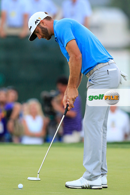 Dustin Johnson (USA) taps in on the 9th green during Friday's Round 2 of the 2016 U.S. Open Championship held at Oakmont Country Club, Oakmont, Pittsburgh, Pennsylvania, United States of America. 17th June 2016.<br /> Picture: Eoin Clarke | Golffile<br /> <br /> <br /> All photos usage must carry mandatory copyright credit (&copy; Golffile | Eoin Clarke)