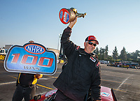 Nov 11, 2018; Pomona, CA, USA; NHRA comp eliminator driver David Rampy celebrates after winning the Auto Club Finals at Auto Club Raceway. The win was the 100th national event victory of his career. Mandatory Credit: Mark J. Rebilas-USA TODAY Sports