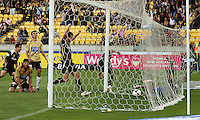 Daniel (left) and Tim Brown celebrate Leo Bertos' first goal during the A-League match between Wellington Phoenix and Newcastle Jets at Westpac Stadium, Wellington, New Zealand on Sunday, 4 January 2009. Photo: Dave Lintott / lintottphoto.co.nz