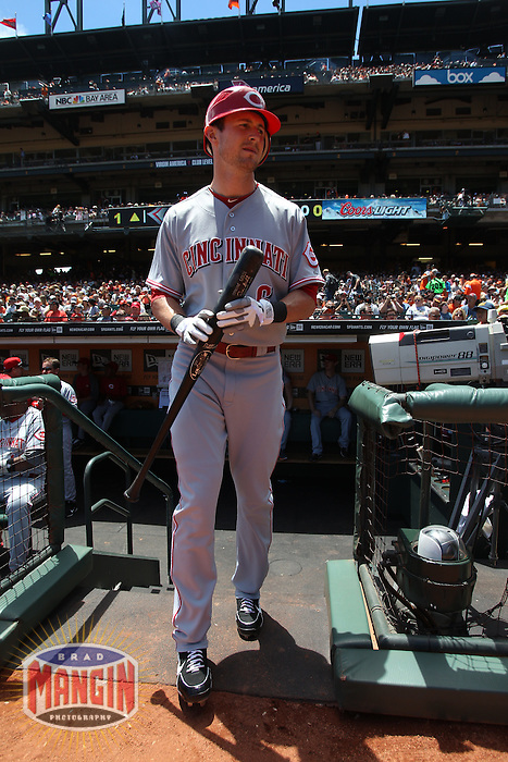 SAN FRANCISCO - JUNE 30:  Drew Stubbs of the Cincinnati Reds leaves the dugout for the on deck circle beforfe the game against the San Francisco Giants at AT&T Park on June 30, 2012 in San Francisco, California. (Photo by Brad Mangin)