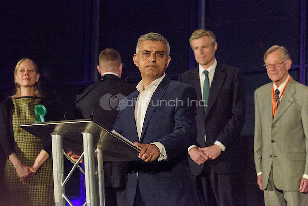 Sadiq Khan, the new London Mayor, at the results announcement in London's City Hall, May 07, 2016. L-R Sian Berry Green Party, (back to Khan) Paul Golding Britain First, Sadiq Khan Labour, Zac Goldsmith Conservative and Lee Harris Canabis is Safer Than Alcohol.  Photo by Andre Camara<br /> CAP/CAM<br /> &copy;CAM/Capital Pictures /MediaPunch ***NORTH AMERICAN AND SOUTH AMERICAN SALES ONLY***