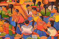 Colorful artwork closeup of painting in shopping center market day in village of Chichicastenango Guatemal