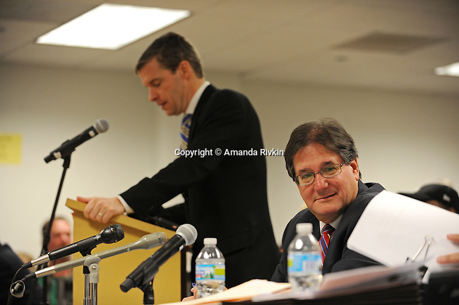 (L-r) Rahm Emanuel's election lawyer Michael Kasper and Burt Odelson, the attorney leading the charge in questioning the residency and eligibility of Rahm Emanuel to run for mayor of the city of Chicago, during Rahm Emanuel's residency hearing in a basement Chicago Board of Elections conference room in Chicago, Illinois on December 14, 2010.