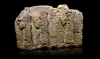 Hittite monumental relief sculpted orthostat stone panel of a Procession. Limestone, Karkamıs, (Kargamıs), Carchemish (Karkemish), 900 - 700 B.C. Anatolian Civilisations Museum, Ankara, Turkey.<br /> <br /> It is a depiction of three marching female figures in long dress with a high headdress (photos) at their head. These women are considered to be the nuns of the Goddess Kubaba. The figure in the front has a small animal in her right hand while the figure in the middle has a glass in his right hand. The object which the figures carry in their left is not understood.  <br /> <br /> Against a black background.