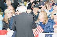Democratic presidential candidate and Vermont senator Bernie Sanders greets supporters after speaking at a small rally outside the NH State House after he filed the required paperwork and paid the $1000 filing fee to be on the 2020 Democratic presidential ballot in the NH Secretary of State's Office in Concord, New Hampshire, on Thu., October 31, 2019. As part of the filing process, Sanders signed a ceremonial primary ballot that is signed by all candidates in the race. Sanders was accompanied during the process by his wife Jane O'Meara Sanders.