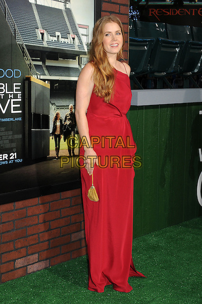 """Amy Adams.""""Trouble With The Curve"""" Los Angeles Premiere held at the Regency Village Theatre, Westwood, California, USA..September 19th, 2012.full length dress red gold bag purse  .CAP/ADM/BP.©Byron Purvis/AdMedia/Capital Pictures."""