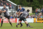 Leinster A flanker Dominic Ryan charges at Pontypridd centre Adam Thomas.<br /> British & Irish Cup Semi Final<br /> Pontypridd v Leinster A<br /> Sardis Road - Pontypridd<br /> <br /> ©Steve Pope-SPORTINGWALES