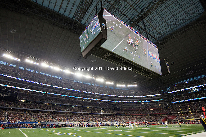 A field level view of the of Cowboys Stadium during the Green Bay Packers Super Bowl XLV against the Pittsburgh Steelers on Sunday, February 6, 2011, in Arlingto, Texaas. The Packers won 31-25. (AP Photo/David Stluka)