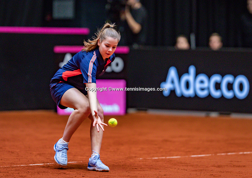 Den Bosch, The Netherlands, Februari 9, 2019,  Maaspoort , FedCup  Netherlands - Canada, second match : Ballgirl<br /> Photo: Tennisimages/Henk Koster