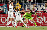 CARSON, CA - FEBRUARY 7: Emily Alvarado #12 GK of Mexico defending her area during a game between Mexico and USWNT at Dignity Health Sports Park on February 7, 2020 in Carson, California.