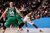 22nd March 2018, Wizink Centre, Madrid, Spain; Turkish Airlines Euroleague Basketball, Real Madrid versus Zalgiris Kaunas; Aaron White (Zalgiris Kaunas) breaks away from the defence of Trey Thompkins (Real Madrid Baloncesto)