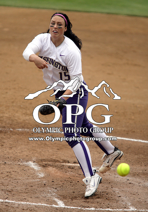 23 May 2010:  Washington Huskies pitcher Danielle Lawrie fires the ball to the plate against the University of North Carolina.  Washington defeated the University of North Carolina 2-1 in eight innings at Husky Softball Stadium in Seattle, WA to advance in the NCAA regional tournament.