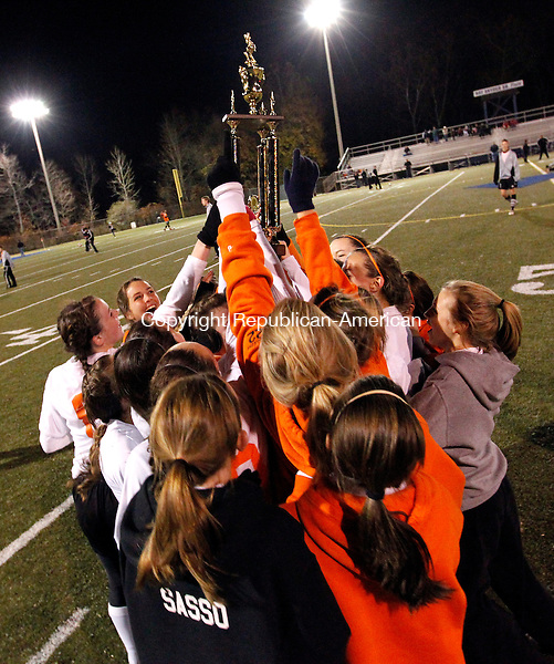 Waterbury, CT- 03, November 2010-110310CM03  The Watertown girls soccer team celebrate after defeating Naugatuck for the NVL title Wednesday night at Municipal Stadium in Waterbury.  They defeated the Greyhounds, 2-1. Christopher Massa Republican-American