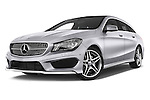 Stock pictures of low aggressive front three quarter view of a 2015 Mercedes Benz CLA Class 220 AMG line 5 Door Wagon