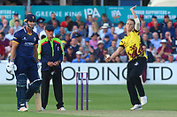 Max Waller in bowling action for Somerset during Essex Eagles vs Somerset, NatWest T20 Blast Cricket at The Cloudfm County Ground on 13th July 2017