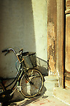 Bicycle 02 - Bicycle leaning against a wall, Dinh Tien Hoang St, Hanoi Old Quarter, Viet Nam