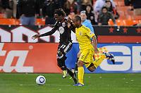 DC United forward Joseph Ngwenya (11) goes against Columbus Crew defender Julius James (26)     DC United defeated The Columbus Crew 3-1  at the home season opener, at RFK Stadium, Saturday March 19, 2011.