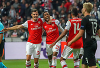 celebrate the goal, Torjubel zum 0:1 Joe Wilcock (Arsenal London) mit Granit Xhaka (Arsenal London) und Pierre-Emerick Aubameyang (Arsenal London)- 19.09.2019:  Eintracht Frankfurt vs. Arsenal London, UEFA Europa League, Gruppenphase, Commerzbank Arena<br /> DISCLAIMER: DFL regulations prohibit any use of photographs as image sequences and/or quasi-video.