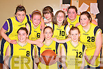 Skellig Bay Celtics team that competed in the girls basketball blitz in the Presentation Gym Killarney on Saturday front row l-r: Aoife Fitzgerald, Joanne Curran, Michelle Clifford. Back row: Niamh Coffey,Sarah Kennedy, Siobhain O'Neill, Carla Boyle, Bronagh Browne and Ciara Fitzgerald     Copyright Kerry's Eye 2008