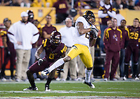 Marc Anthony of California intercepts the ball during a game against Arizona State at Sun Devil Stadium in Tempe, California on November 25th, 2011  -  California defeated Arizona State  47  - 38