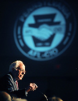 PHILADELPHIA, PENNSYLVANIA - APRIL 07: Democratic Presidential Candidate Bernie Sanders speaks during the AFL-CIO Convention at the Downtown Sheraton Philadelphia on April 7, 2016 in Philadelphia, Pennsylvania. (Photo by William Thomas Cain/Getty Images)
