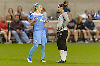 Chicago, IL - Saturday Sept. 24, 2016: Julie Johnston, Michele Dalton during a regular season National Women's Soccer League (NWSL) match between the Chicago Red Stars and the Washington Spirit at Toyota Park.