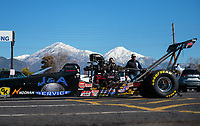 Feb 11, 2019; Pomona, CA, USA; NHRA top alcohol dragster driver Joey Severance during the Winternationals at Auto Club Raceway at Pomona. Mandatory Credit: Mark J. Rebilas-USA TODAY Sports