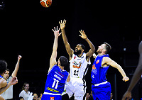 Hawks guard Dion Prewster in action during the national basketball league match between Cigna Wellington Saints and Hawkes Bay Hawks at TSB Bank Arena in Wellington, New Zealand on Friday, 12 April 2019. Photo: Dave Lintott / lintottphoto.co.nz