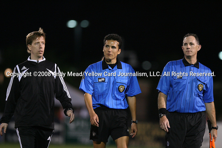 22 March 2008: Referees Andrew Chapin (l), Alejandro Mariscal (center), and assistant referee Sean Hurd (r). The expansion San Jose Earthquakes defeated the New York Red Bulls 3-0 in a preseason game at Blackbaud Stadium on Daniel Island in Charleston, SC, as part of the Carolina Challenge Cup.