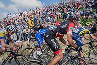 Greg Van Avermaet (BEL/BMC) up the infamous Muur van Geraardsbergen (1100m/7.6%) that is back in the parcours after a 5 year hiatus<br /> <br /> 101th Ronde Van Vlaanderen 2017 (1.UWT)<br /> 1day race: Antwerp › Oudenaarde - BEL (260km)